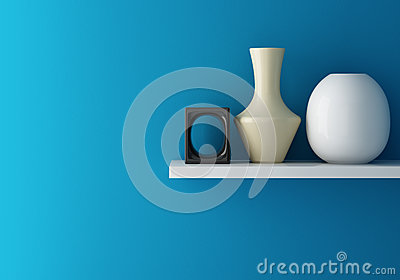 Interior of blue wall and ceramic on shelf