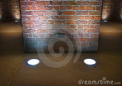 Interior brick wall lit up by