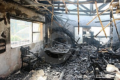 Interior of Burnt Home