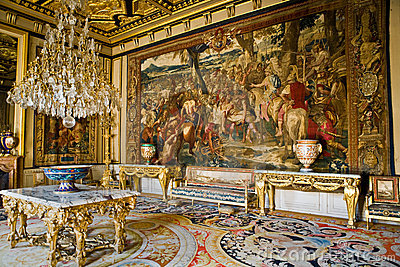 Interior in the castle Fontainebleau Editorial Photo