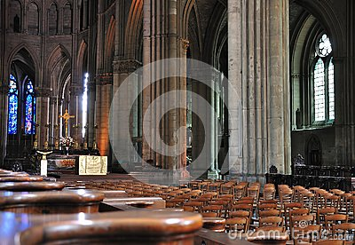 Interior of a cathedral in Reims.