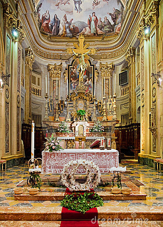 Interior of catholic church.