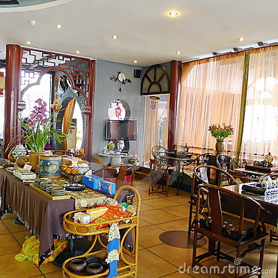 Interior of chinese tea restaurant Editorial Stock Image
