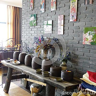 Interior of chinese tea restaurant Editorial Stock Photo