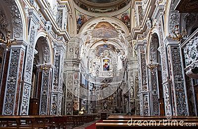 Interior of church La chiesa del Gesu or Casa Professa in Palerm