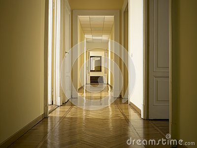Interior classic long corridor, nobody inside