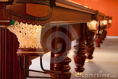Interior of a club having billiard table