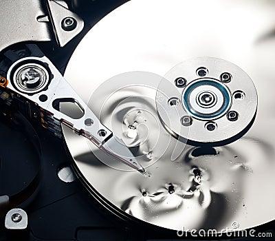 Interior of damaged hard drive