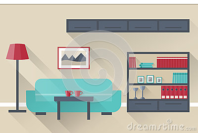 Interior De La Sala De Estar Vector Stock de ilustración - Imagen ...