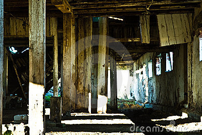 Interior of decaying barn