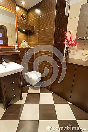 Interior del cuarto de baño de Brown con los detalles anaranjados