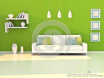 Interior del cuarto moderno de la pared verde y del blanco - Paredes en verde ...