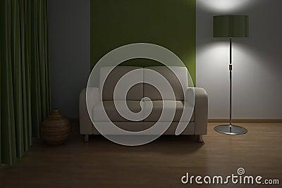 Interior del diseño. Sofá en sala de estar moderna.