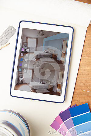 Interior Design Application On Digital Tablet Stock Image