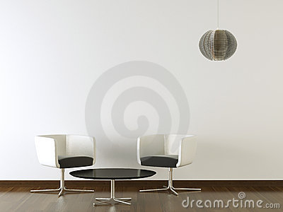 Interior design black furniture on white wall