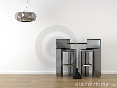 Interior design black stools on