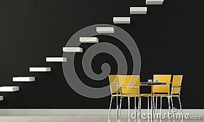 Interior design black wall