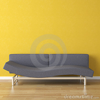 Interior design blue couch on