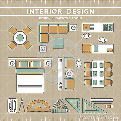 Interior Design Layout Tools Stock Vector Image