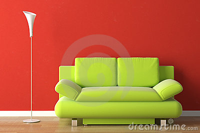 Interior design green couch on red royalty free stock - Red and green interior design ...