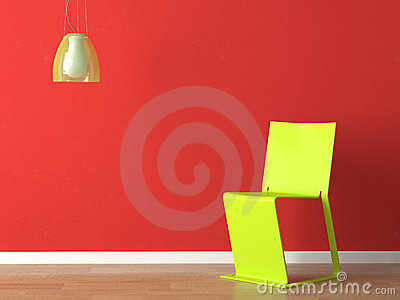 Interior design green wall fuxia couch and lamp
