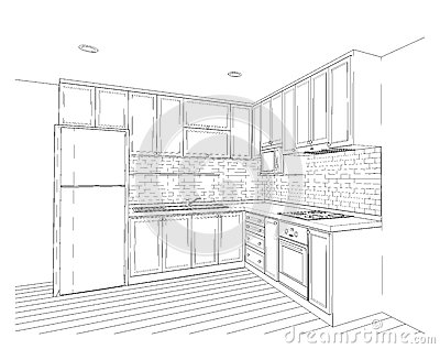 Interior Design, Kitchen Stock Illustration - Image: 77612369