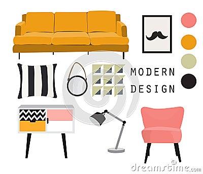 Interior design. mid century modern furniture. vector elements set. Vector Illustration