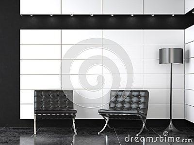 Interior design of modern b&w reception