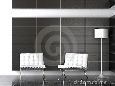 Interior design of modern B&W reception