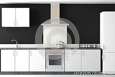 Interior design of modern black kitchen