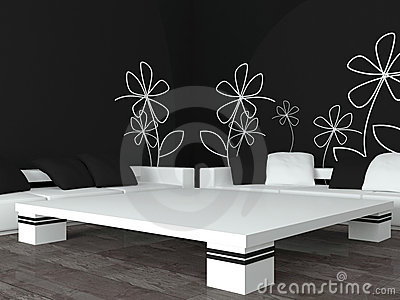Interior design of modern black living room
