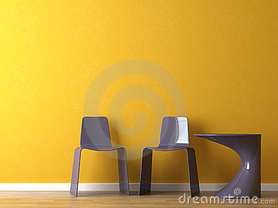 Interior design modern chairs on orange wall