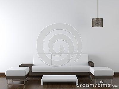Interior design modern furniture on white wall