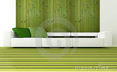 Interior design of modern green living room