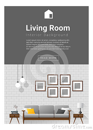 Interior design modern living room banner stock vector for Interior design banner images