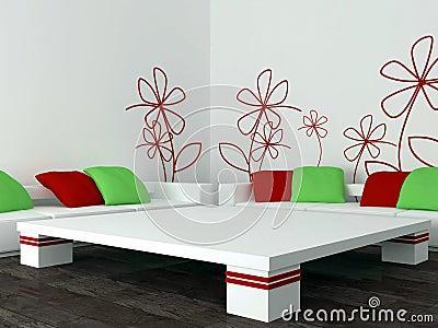 Interior design of modern living room, lounge