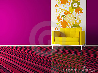 Interior design of modern pink living room