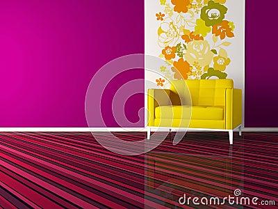 Interior design of modern pink living room