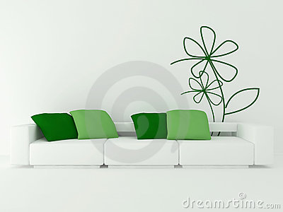 Interior design of modern white living room