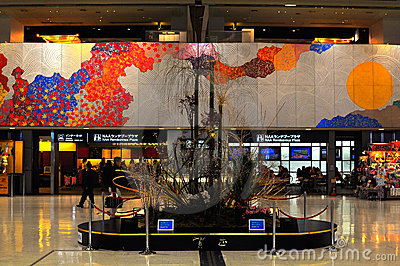 Interior design of Narita airport Editorial Stock Photo