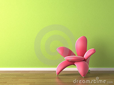 Interior design pink flower shaped armchair