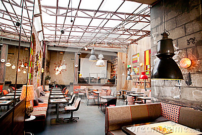 Interior design of a popular restaurant in the center of the old town