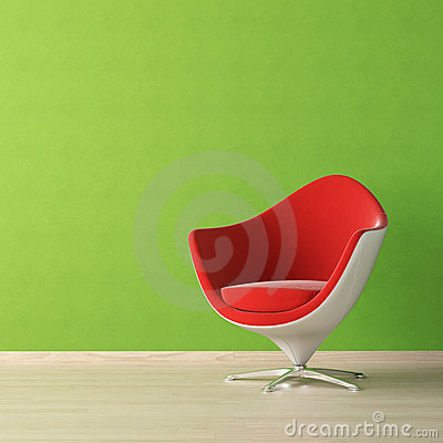 Interior design of red chair against a vibrant green wall with copy
