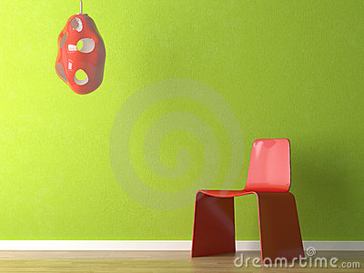 Interior design of red chair on green wall
