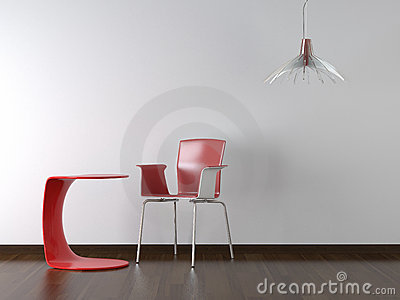 Interior design red chair and table