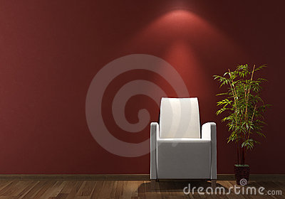 Interior design white armchair on bordeaux wall