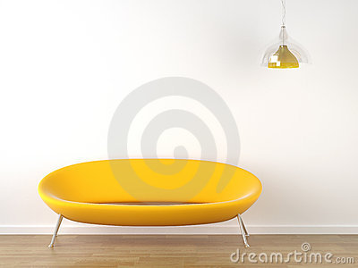 Interior design yellow couch on white