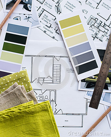 Interior Designers Working Table Stock Photo Image 59300159