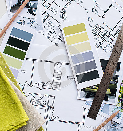 Interior Designers Working Table Stock Photo Image 59300354