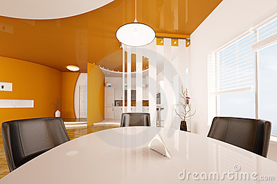 Interior of dining room and kitchen 3d render